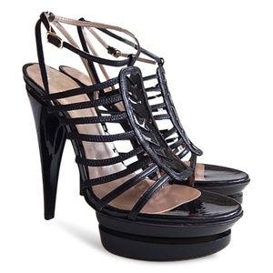 NEW Double Platform Patent Leather Strappy Sandals